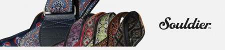 Souldier custom guitar straps available for music retail outlets, supplied by 440 Distribution.